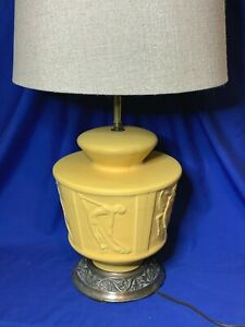 Muncie Pottery Art Deco Dancing Nudes pattern yellow table lamp