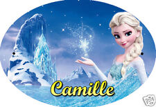 PLAQUE DE PORTE OVALE RIGIDE  réf 53 la reine des neiges personnalisée prénom