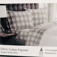 New with Tags London Fog Gray Plaid Flannel Queen Size Sheets 100% Cotton
