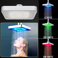3 Color LED Light Square Rain Shower Head Stainless Steel Changing Bathroom