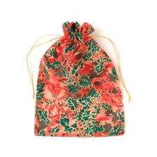 6 x Organza Gift Bags Holly Print Glitter Christmas Xmas Bags Wrapping