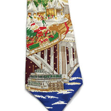 Santa Claus Flying in Minneapolis Xmas Tie Skyline Mississippi River Paddle Boat