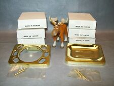 Toothbrush Holder and Soap Dish Gold Colored Aluminum 3 of each
