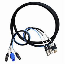 50ft Edison Plug to PowerCon Blue wDual 3-Pin XLR-M XLR-F