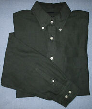 Nautica Casual Dress Shirt Green Solid L Button-Front s1018
