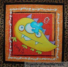 BonEful Fabric Cotton Quilt Block Cookie Monster Baby Boy B&W Kid L Pillow Decor