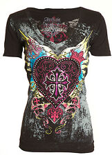 ARCHAIC by AFFLICTION Womens T-Shirt DARLING Heart Wings BLACK Biker Sinful $40