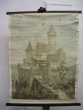 Schulwandkarte Wandbild Ritterburg Fräulein Jagd 64x84 vintage wall chart ~1920