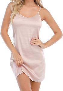 Women's Satin Full Slip Sexy Nightdress Spaghetti Strap Negligee Nightgown Chemi