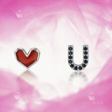 925 Silver Earrings Made With Swarovski Crystal Red Heart Love You Baby Kid Stud