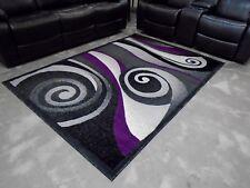Rugs Area 5X8 Purple Black and shades of Grey Gray Modern Swirl - NEW