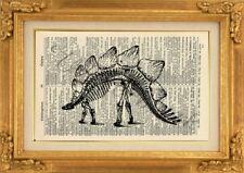 ORIGINAL - Dinosaur Art Print on Vintage Dictionary Page - Wall Hanging NO.546B