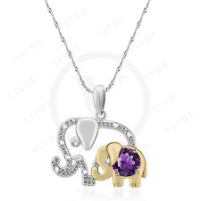0.30 ct Amethyst 14k Two Tone Gold Mom & Baby Elephant Pendant Free Silver Chain