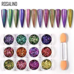 ROSALIND 0.2g Nail Glitter Powder Nail Decoration Pigment Peacock Magic Powder