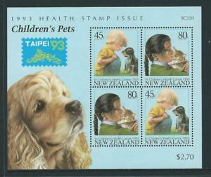 "1993 NEW ZEALAND Health - Childrens Pets ""Taipei '93"" Minisheet MNH (SG MS1744)"
