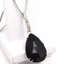 Necklace White Gold 750 18K, Drop Black Spinel, Diamond Chain, Veneta