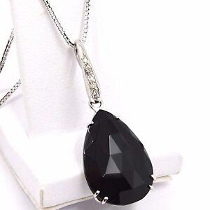 Necklace White Gold 750 18K, Drop Spinel Black, Diamonds, Chain Venetian