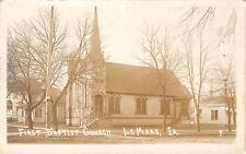 Lemars Iowa~First Baptist Church~Beautiful Steeple~Real Photo Postcard c1910
