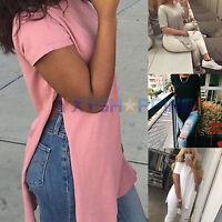 Women's Side High Split T-shirt Top Short Sleeve Casual Tee Shirt Blouse Tops