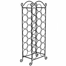 Black Finish Stainless Steel Wine Rack Holder Floor Standing Holds 21 Bottles