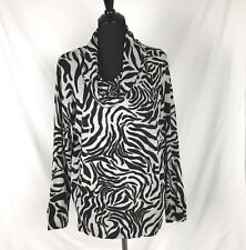 CHICOS Womens Sweater Sz 3 Cowl Neck Black Gray Animal Print Thin Knit