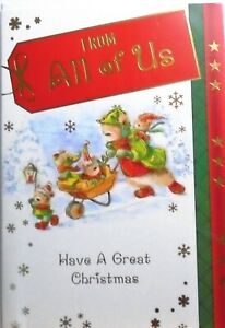 FROM ALL OF US CHRISTMAS CARD ~ Cute Bear Family Delivering Presents In Snow