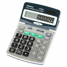 Large Adjustable 12 Digit LCD Calculator Dual Solar Power Handheld Desktop Maths