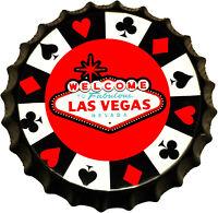 Deko Blechschild 35cm Kronkorken Las Vegas Wandschild Kneipe Diner Restaurant