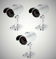 Mitaki-Japan SET of 3 Dummy Fake Bullet Security Camera With Blinking Red Light