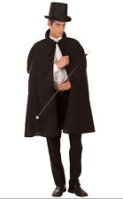 MENS LONG BLACK DELUXE VICTORIAN EDWARDIAN FANCY DRESS COSTUME CAPE CLOAK NEW