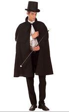 Mens Long Black Deluxe Victorian Edwardian Fancy Dress Costume Cape Cloak