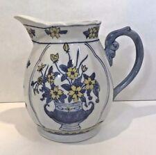 Vintage White Ironstone Pitcher Blue & Yellow Flowers 56 Oz