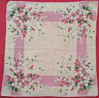"VINTAGE FLORAL ART ROSES WHITE PINK COTTON 11.5"" HANDKERCHIEF"