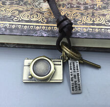 Men's Retro Gold Metal Camera Pendant Genuine Leather Surfer Choker Necklace