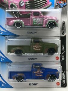 Hot Wheels * Lot of 3 * Chevy Pickups* 1952 Model  **WOW ****1:64