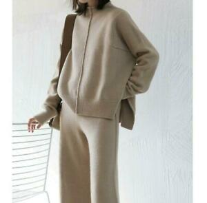 Women's Cashmere Wool Knitted Sweater Pullover+Wide Leg Pants 2Pcs Set Stretchy