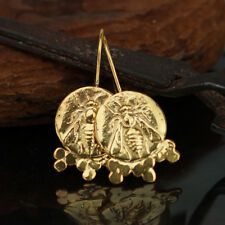 925 Sterling Silver Bee Coin Granulated Earrings Ancient Roman Art Fine Jewelry