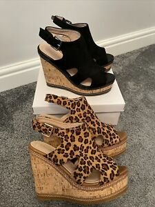 2 Pairs Size 6 Wedges Ladies Black & Leopard Print Both Worn Once Sandals