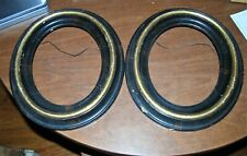"""Pair Antique Victorian oval 14"""" x 12"""" black/gold frames - need some TLC"""