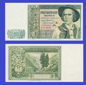 Poland 50 zloty 1939 UNC - Reproduction