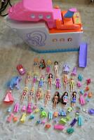 LOT OF POLLY POCKETS DOLLS DISNEY PRINCESS W/ ACCESSORIES ULTIMATE PARTY BOAT