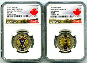 2020 $2 CANADA NGC MS67 TOONIE V75 VE-DAY TWO DOLLAR MATCHED 2-COIN SET FR TOP