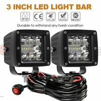 2X 3'' LED Pods Work Light Bar Square Driving Fog Flush Mount Kit Truck Off Road
