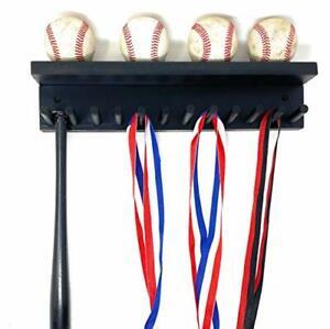 DecoDesign Baseball Softball Bat Rack Display Rack Baseballs Holder Rack Baseball Cap Holder Baseball Bat Wall Mount