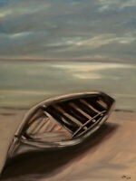 ORIGINAL Signed Handmade Oil painting on canvas. 23x17''. boat sea beach shore