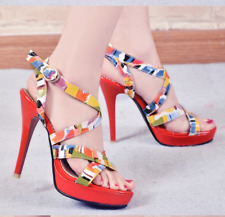 Women High Heels Stilettos Buckle MultiColor Summer Party Cocktail Sandals Red