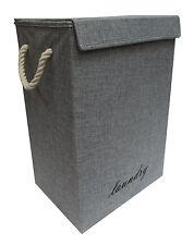 GREY/DENIM FOLDING LAUNDRY BASKET CLOTHES HAMPER WASHING BOX SHAPE LINING