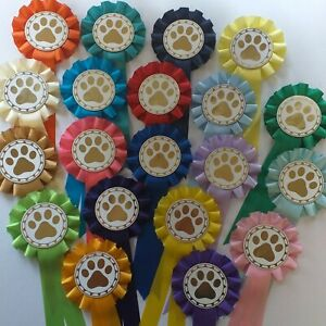 Dog Rosettes Paw Print 1 Tier Dog Show Rosettes 10x Per Pack FREE POSTAGE