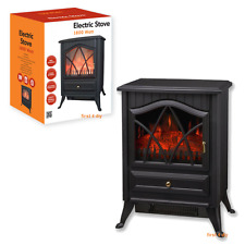 Black 1.8KW Log Burning Flame Effect 1800W Electric Fire Heater Fireplace Stove