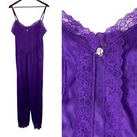 VTG LADY CAMEO Purple Sleep Romper Loungewear Lace Bodice Made In USA FLAWS